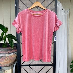 Old Navy Pink Sparkly Velvety T Shirt Small NWT